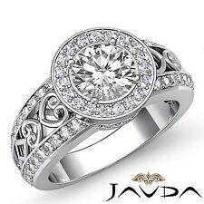 Round Cut Diamond GIA F VS2 18k White Gold Halo Pave Set Engagement Ring 2.25ct