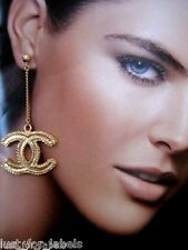 CHANEL Gold XL Dangle CC Logo Long Drop Chain Authentic Earrings NWT