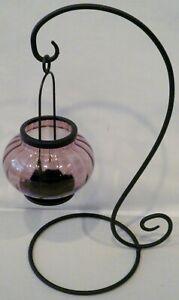 Freestanding Hanging Stand Glass Hanging Tealight Candle Lantern Holder