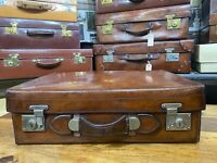 vintage mid brown heavy leather moving travel antique suitcase