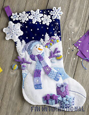 "Bucilla Frosty Night ~ 18"" Felt Christmas Stocking Kit #86703 Snowman Blue White"