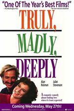 TRULY MADLY DEEPLY Movie POSTER 27x40 Juliet Stevenson Alan Rickman Bill