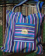 Made In Guatemala Hand Woven Loomed Fair Trade Striped Tote Shopping Bag