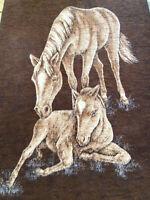 VTG Biederlack West Germany Reversible Horse Foal Brown Tan Throw Blanket 74 57