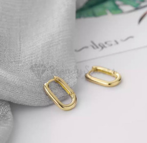 18ct Real Gold Plated 925 Silver U Shaped Hoop Earrings Geometric Oval Earrings