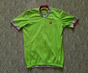 Castelli Men's Short Sleeve Cycling Jersey Full Zipper Color Green Size Medium M