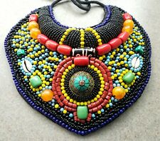 AFRICAN Beaded Bib collar necklace, turquoise coral, boho, gypsy, tribal, ethnic