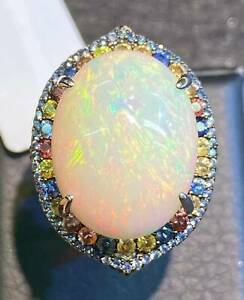 NATURAL FIRE OPAL 25X20 SAPPHIRE DIAMOND CUT STERLING SILVER 925 RING