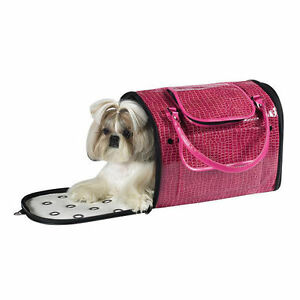 Dog/Cat/Pet/Carrier/Purse/Tote/Bag - Z & Z - Pink Croco Carrier - Medium - NEW