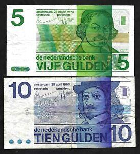 5 Gulden 1973 / 10 Gulden 1968 The Netherlands  🇳🇱 Lot 2 Banknotes # 95 / 91