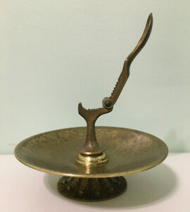 Mid Century Vintage Small Brass Ashtrays Made In Israel Jerusalem Boho Chic Tobacciana Jewish Metal Enamel Art Hen Holon Tamar Pal Bell