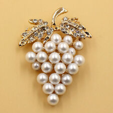 Pins Crystal Rose Flower Clip Rhinestone Pearl Plated Gold Grapes Brooch