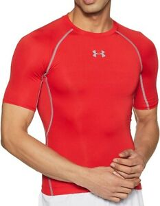 Under Armour HeatGear Mens Compression Top Red Short Sleeve Base Layer UPF 30+
