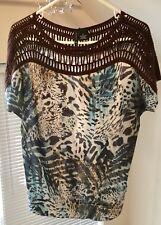 New Directions.. Aqua/brown Print W/ Crochet Yoke/shoulders... Size Med