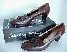 Salvatore Ferragamo Women's Brown Leather Shoes with Tassels. Made in Italy