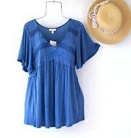 New~Blue Crochet Lace Peasant Blouse Shirt Empire Ruffle Boho Top~Size Medium M