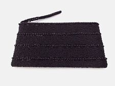 Black clutch purse beaded evening bag zip top wedding prom 8.5 x 5 inches