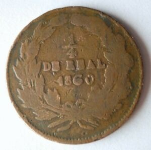 1860 MEXICO 1/4 REAL - Rare Early Date Coin - Lot #A5