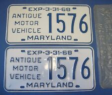 1968 Maryland Antique Motor Vehicle License Plates Matched Pair