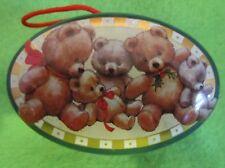 """Christmas Tiny Teddy Bear Ornament Tin 2 3/4"""" x 1 7/8"""" x 1"""""""