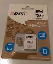 Emtec 64 GB Micro SD Card Class 10 Gold Memory