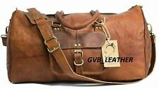 VINTAGE RETRO GENUINE LEATHER HOLDALL TRAVEL WEEKEND CABIN SPORTS DUFFEL BAG TAN