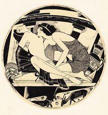 "LESBIAN Lesbos EROTIC DRAWINGS by S. Vidbergs ""16 Bilitis Dziesmas"" LATVIA 1928"