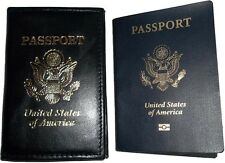 New USA Leather passport case wallet credit ATM card case ID holder BN