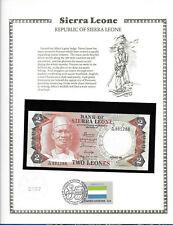 Sierra Leone 1985 2 Leones P6h UNC w/FDI UN FLAG STAMP Prefix B/106