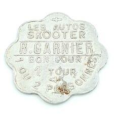 Jeton. Autos Skooter R Garnier Bon pour un tour, 1 ou 2 personnes. Médaille.