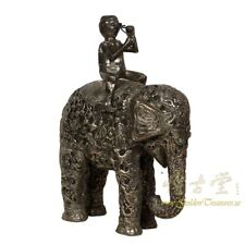 Antique Tibetan Silver Statue - Man on Elephant, Hand Carved