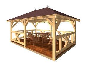 Holzpavillon verzapft Pavillon Gartenlaube Gartenpavillon Gartenhaus Garten KVH
