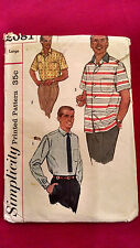 Simplicity 2081 Mens Classic Retro Shirt Sewing Pattern L Chest 42-44 VTG 1957.