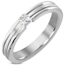 4mm Stainless Steel Comfort Fit Promise Ring Tension Set Clear CZ SZ 6.5  8c