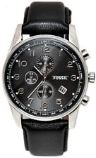 FOSSIL FS4761 SILVER TONE STAINLESS STEEL CASE BLACK FACE BLACK BAND MENS WATCH