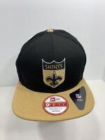 New Era NFL 9FIFTY Black New Orleans Saints SnapBack Flat Bill, NEW!