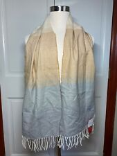 Croft & Barrow Dress Scarf w/ Fringe Neutral Gray, Tan and Cream - NEW