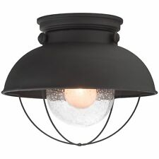 "Revel Bayside 11"" Industrial Flush Mount Ceiling Light + Seeded Glass Shade, ..."