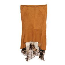 26038 auth ROBERTO CAVALLI ochre brown leather Flared Knee-Length Skirt S