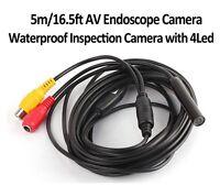 4 LED 5M RCA-plug Waterproof Borescope Endoscope Cam Inspection snake Camera new