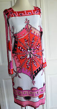 Emilio Pucci Jersey Knit Signature Print Dress Size US 14  MADE IN ITALY EUC
