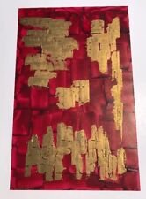 RED & GOLD 1970'S ABSTRACT OIL PAINTING  FRENCH EXPO ARTIST MAX GAILLARD