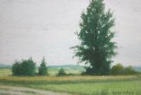 Gustav Müller Aquarell Büsche und Hoher Baum am Getreidefeld Juli 1981