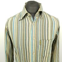 ARMANI Mens Vintage Shirt MEDIUM Long Sleeve Green SLIM FIT Striped Cotton