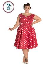 Vintage 1950s Style Rock n Roll Red & White Polka Dot Dress Plus Size