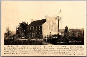 "1946 FORT NECESSITY, Pennsylvania RPPC Photo Postcard ""Museum Built 1816"""