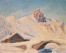 """Unbekannt (signiert """"Eberhardt""""?) Gemälde Französische Alpen Saint Gervais 1945"""