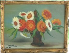 ArGeo'S (XIX-XX) Huile sur bois 1931 / Art Déco Art Nouveau / Bouquet de fleurs