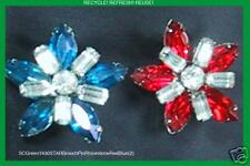 SuomynonaCouture Recycled Vintage Rhinestone Brooch Pin Blue Red