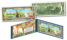 HAPPY EASTER Bunnies Eggs Holiday Colorized Genuine Legal Tender U.S. $2 Bill
